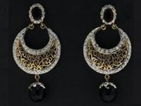 Golden Diamond with Black Pearl Filigree Earrings