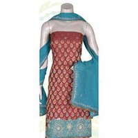 Semi Chanderi Suit With Hand Embroidery