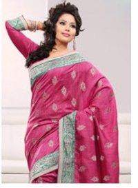 Pink Art Bhagalpuri Silk Saree With Blouse