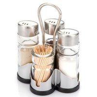 Salt And Pepper, Red Pepper, Toothpick Holder Set