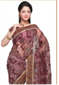Dusty Maroon Tissue Saree With Blouse