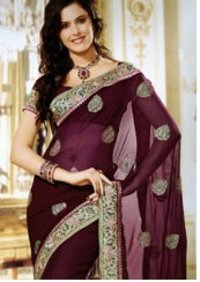 Ladies Faux Chiffon Saree With Blouse