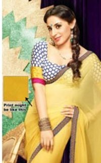 Yellow Faux Chiffon Saree