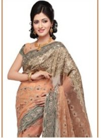 Cream Net Saree With Blouse