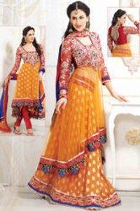 Orange Net Churidar Kameez With Dupatta