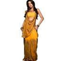 Golden Sequin Embroidered Yellow Saree