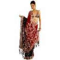 Red And Black Shaded Sequin Beading Saree