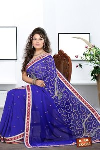 Blue Hand Embroidered Resham Work Saree