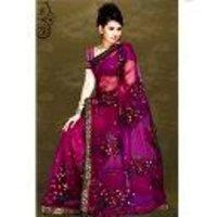 Designer Printed Embroidered Saree Fabric