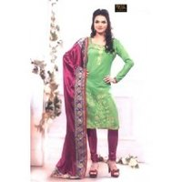 Green Chanderi Ladies Suit