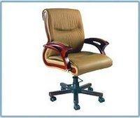 Wooden Arm Office Medium Back Chair