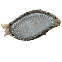 Fish Shape White Metal Bowl