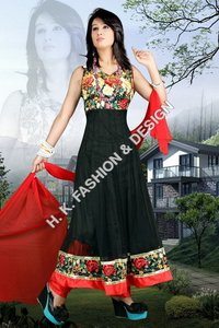 Black Printed Anarkali Dresses