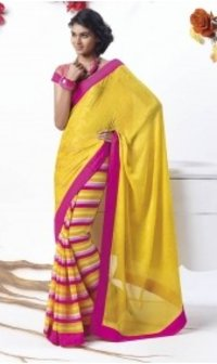 Ladies Yellow Chiffon Saree