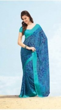 Ladies Printed Blue Chiffon Saree