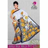Yellow Floral Printed Sarees