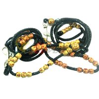 G1008 Vintage Beaded Black Economy PU Pet Leashes