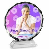 Circular Engraved Photo Crystal
