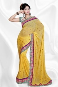 Designer Ladies Yellow Saree