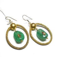 Green Stone Studded Gold Earrings