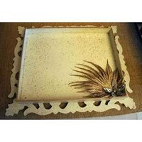 Designer White Carved Tray
