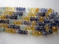 Aquamarine Beads Gemstone Faceted (4MM To 7MM 15 Inch)