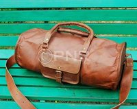 Leather Round Duffel Bag