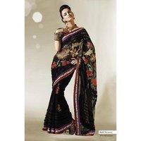 Ladies Black Net Designer Saree