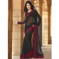 Beckoning Black Flora Embroidered Georgette Saree