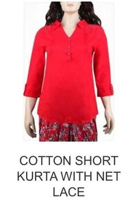 Cotton Short Kurta With Net Lace