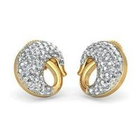 Yellow Gold Stud Diamond Earring