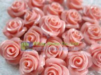 10mm Pink Coral Rose Flower Carved
