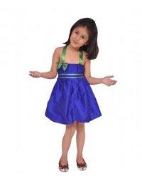 Kidzblush Blue Green Ballon Silk Dress