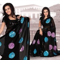 Modern Black Faux Georgette Saree With Unstitched Blouse