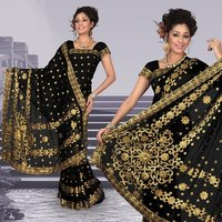 Atrous Black Faux Georgette Saree With Unstitched Blouse