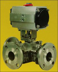 Three Way T Port Pigging Ball Valve With Actuator