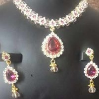 Pink Ruby Stone Necklace Set