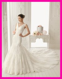 V-Neck Lace Bridal Gown
