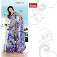 Grey And Royal Blue Leaf Fancy Designers Sarees