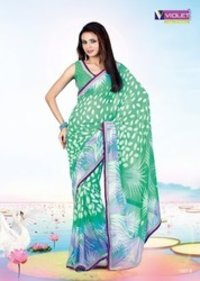 Ivory Printed Cotton Saree