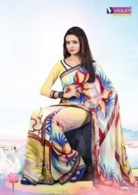 Printed Georgette Cream And Blue Saree With Blouse
