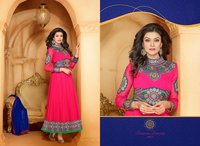 Designer Semi Stitched Long Anarkali Dress Fabric