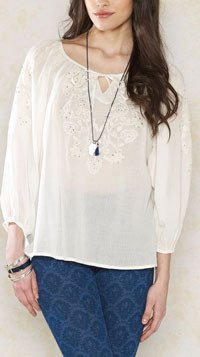 Embroidered White Women Top