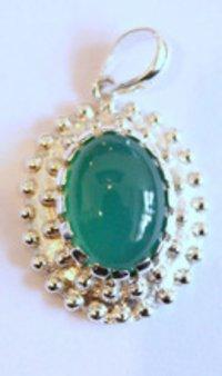 Sterling Silver Green Onyx Semi Precious Stone Pendant