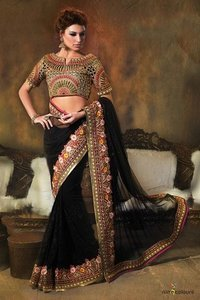 Net and Georgette Saree in Black Colour