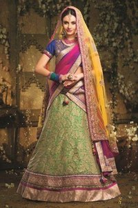 Net and Soft Net Lehenga in Pink and Green Colour
