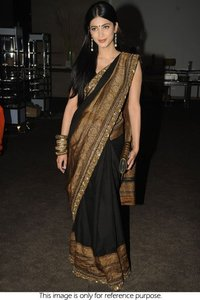 60 Gram Georgette Saree In Black and Gold Colour