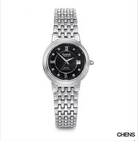 Quartz Stainless Steel Black Diamond Dial Women Watch