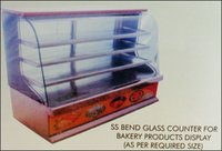 Ss Bend Glass Counter For Bakery Products Display