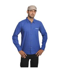 Men's Casual Plain Blue Shirt